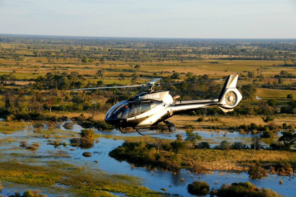 Helicopter over Okavango Delta