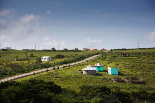 Blue huts in green fields