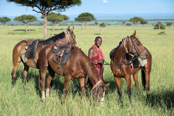 Local Masai look after the horses