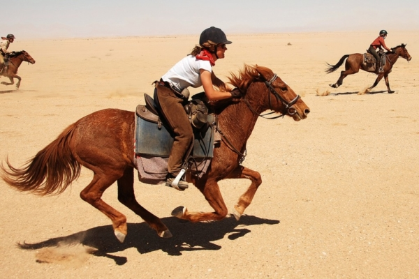 Fast paced riding on open  plains