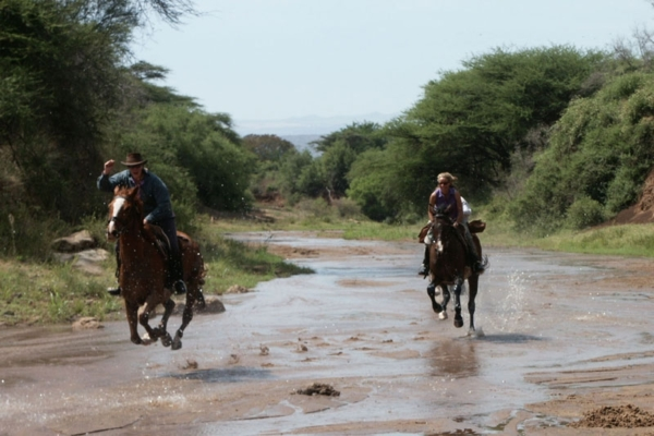 Galloping up the river bed