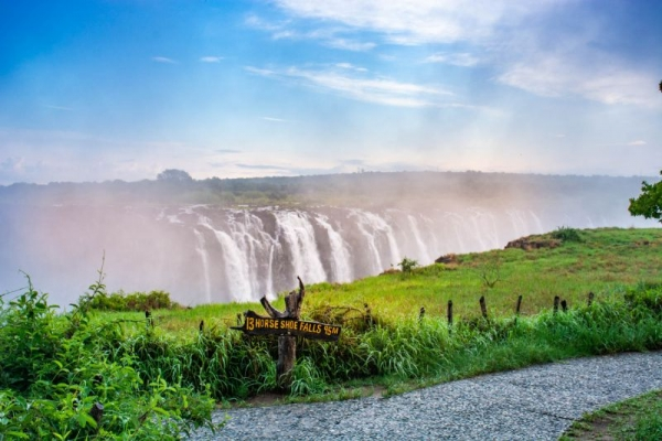 Victoria Falls with sign