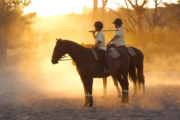 Polo players in dusk light