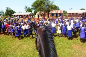 Horse gazing at children in front of a rural African School