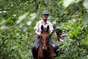 Smiling people riding horses through jungle