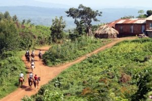 Horseriding near rural Ugandan Village