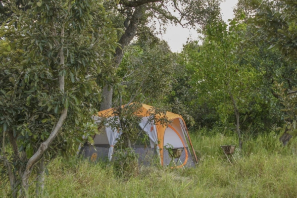 Grey and orange tent in Africa
