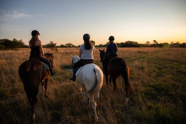 Trail riding in Zimbabwe at sunset