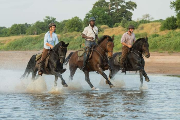 horse riders galloping through water