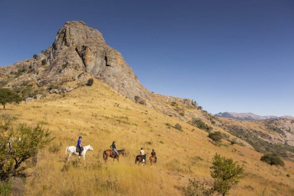 Trail riding in golden grass with tall mountains in the back