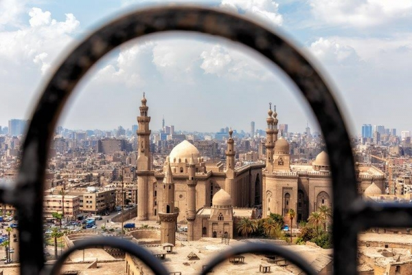 Cairo rooftop view with mosques and temples