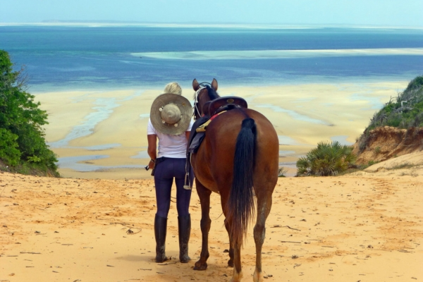 Girl with horse overlooking the Indian ocean