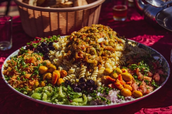 Traditional Moroccan food platter