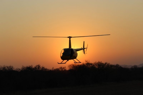 helicopter at sunset in South Africa