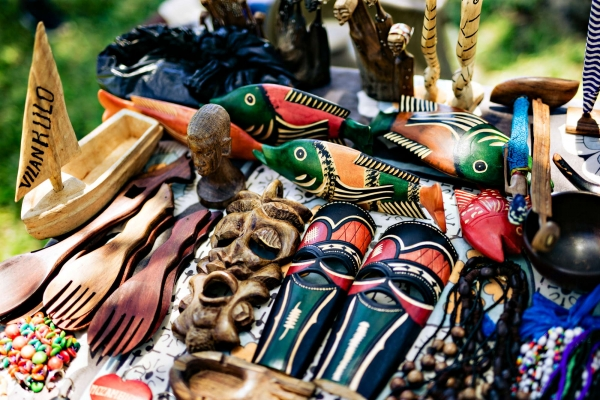 Colourful crafts at African market in Mozambique